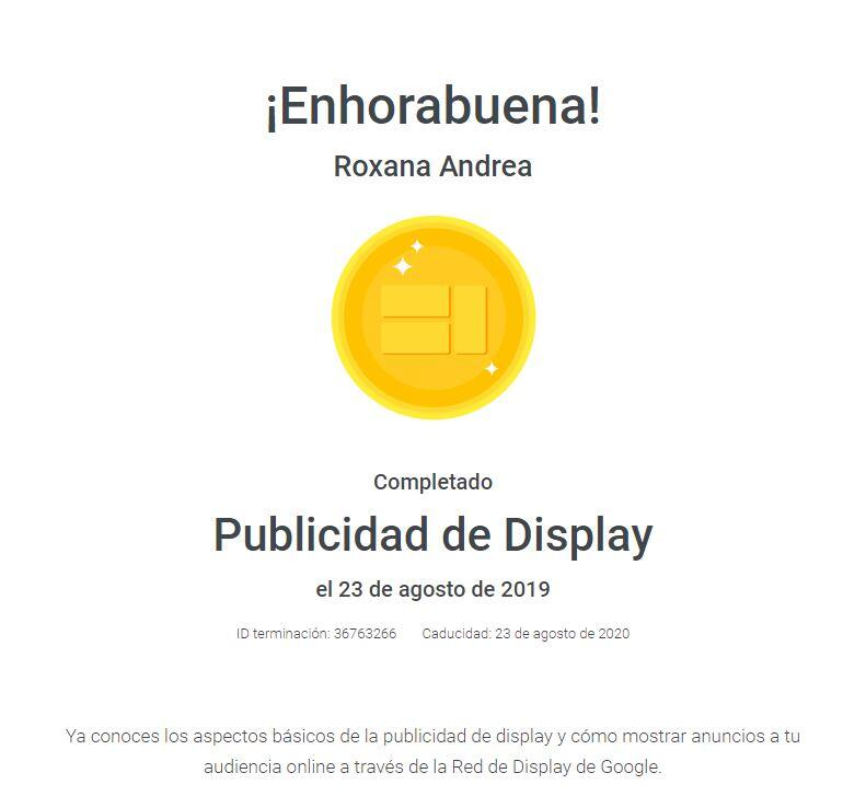 Certificado Display Google ads Roxana Andrea Cornea 2019